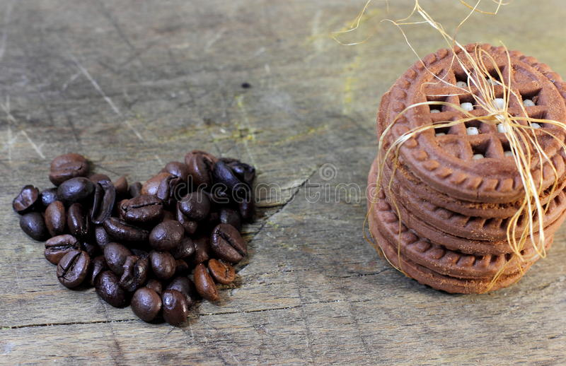 Chocolate chip cookies and coffee beans royalty free stock photos
