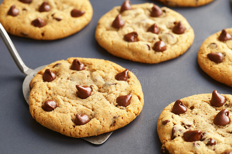Download Chocolate Chip Cookies Fresh From The Oven Stock Image   Image Of  Chip, Wooden