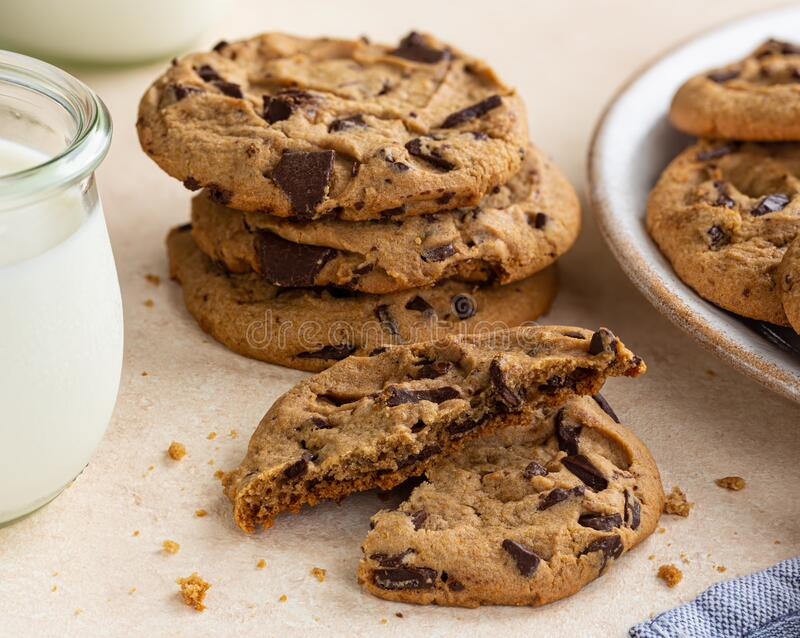 Chocolate Chip Cookies and Glass of Milk stock photos