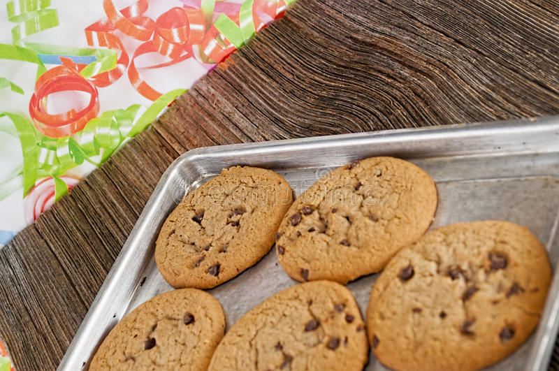 Chocolate chip cookies homemaid,baked royalty free stock photo