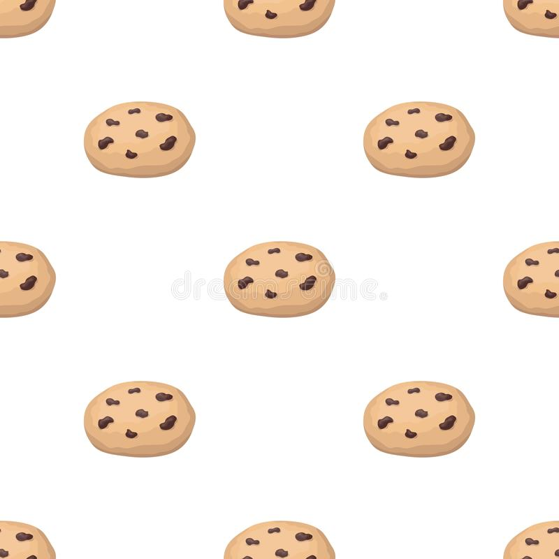 Chocolate chip cookies icon in cartoon style isolated on white background. Chocolate desserts symbol stock vector. Chocolate chip cookies icon in cartoon design royalty free illustration