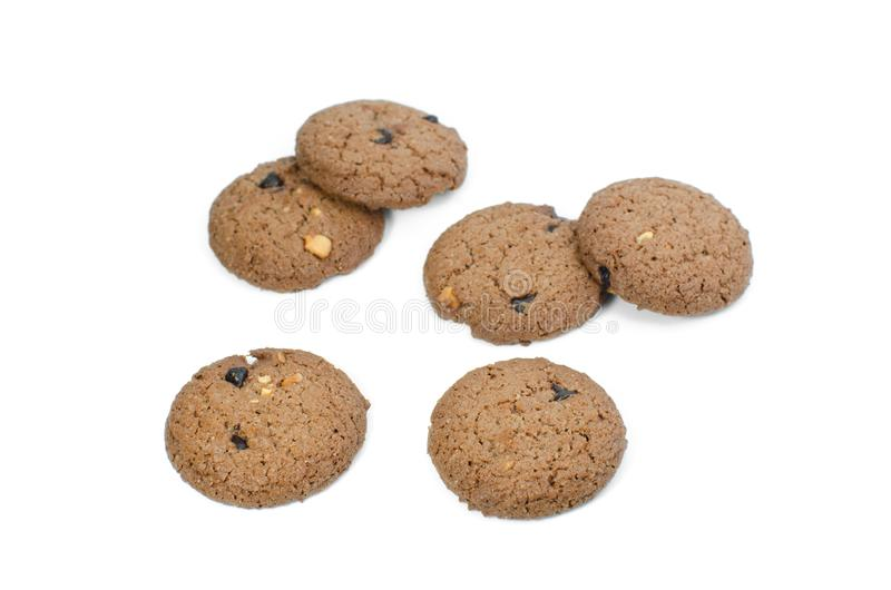 Chocolate chip cookies isolate on white background royalty free stock images