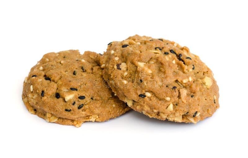 Chocolate chip cookies. Chocolate chip cookies isolated on white background royalty free stock photo