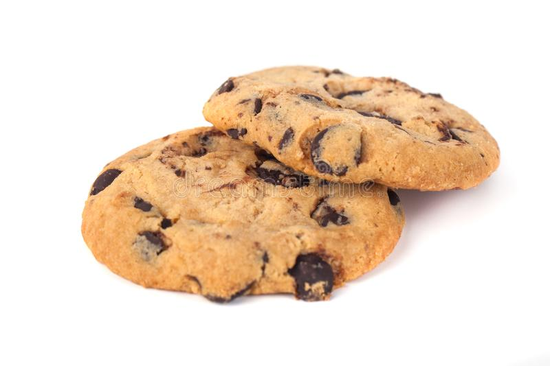 Chocolate chip cookies isolated on white background royalty free stock photos