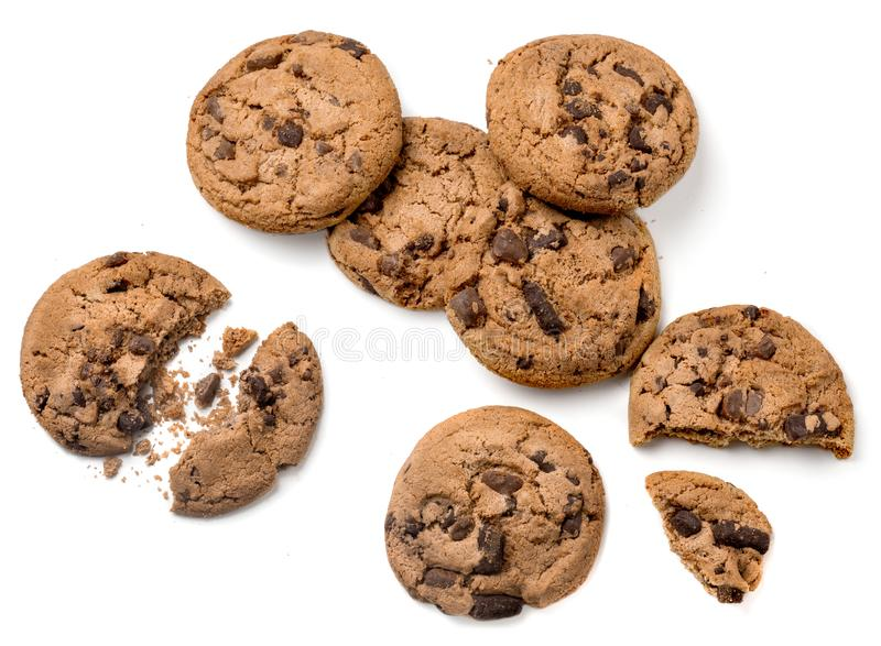 Chocolate chip cookies isolated on white background. Flat lay. Top view. Homemade cookies royalty free stock image