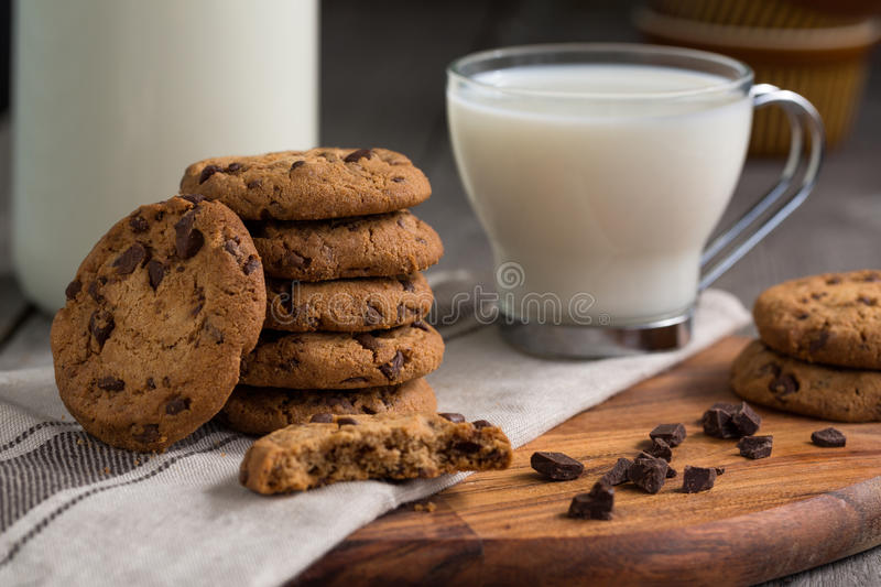 Chocolate chip cookies with milk. Close-up royalty free stock image