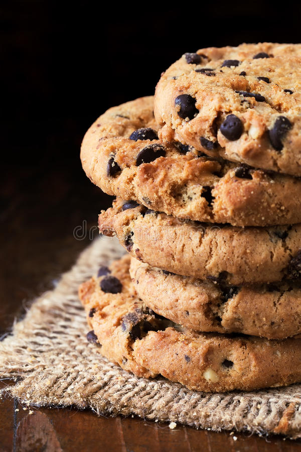 Chocolate chip cookies royalty free stock photos