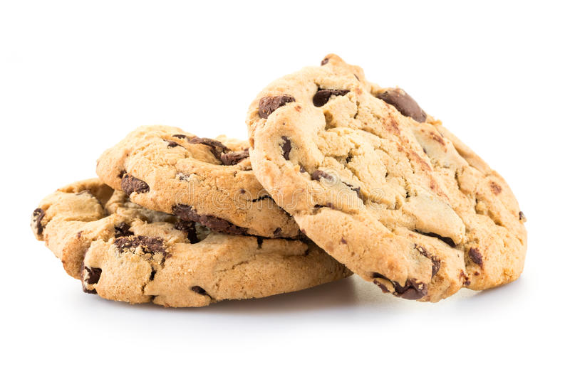 Chocolate chip cookies. Over white background royalty free stock photos