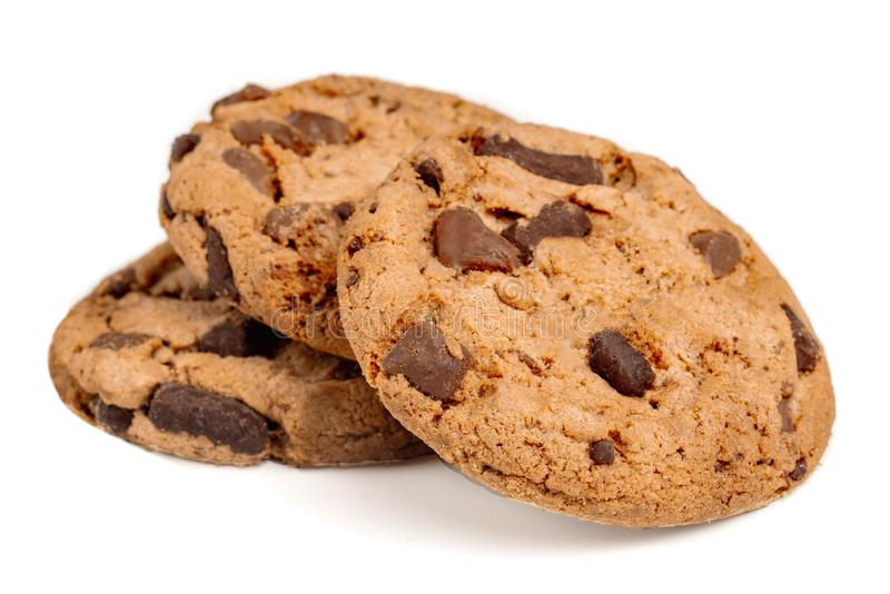 Chocolate chip cookies with chocolate pieces isolated on white background. Macro image.  royalty free stock photography