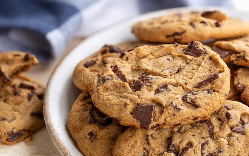 Chocolate Chip Cookies on a Plate stock photo
