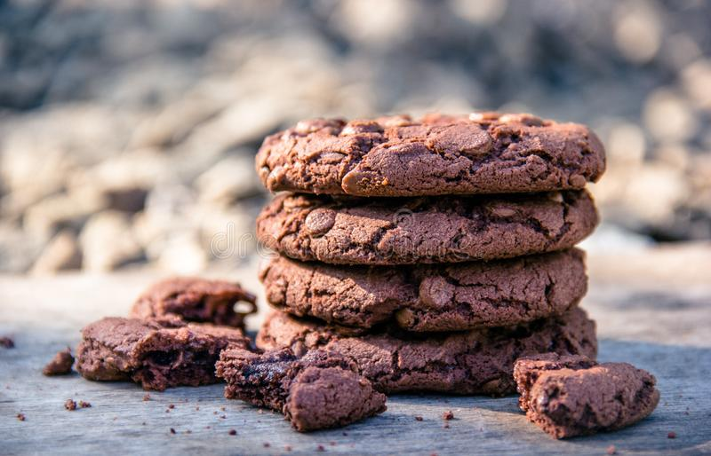 Chocolate chip cookies. Stack of cookies. Homemade cookies stock photography