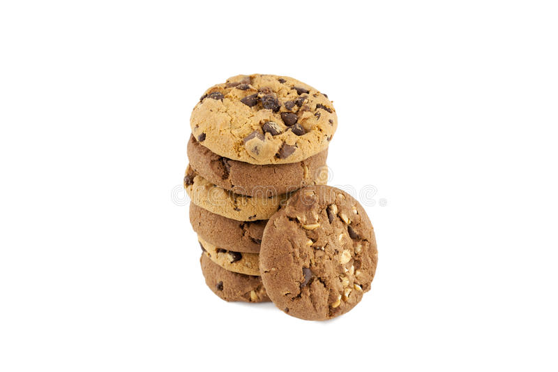 Chocolate Chip Cookies On A Stack Royalty Free Stock Photo