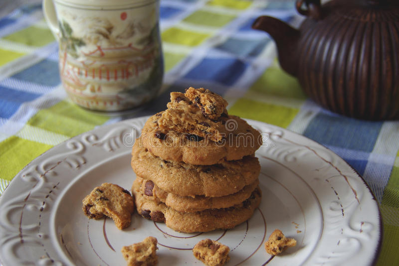 Chocolate chip cookies. On the table stock photography