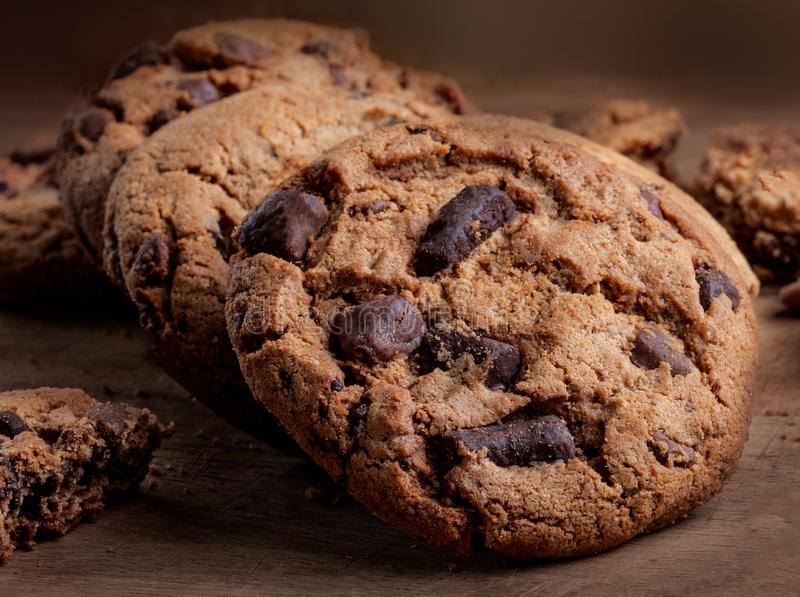 Chocolate chip  cookies on wooden Background, copyspace, top view.  royalty free stock photo