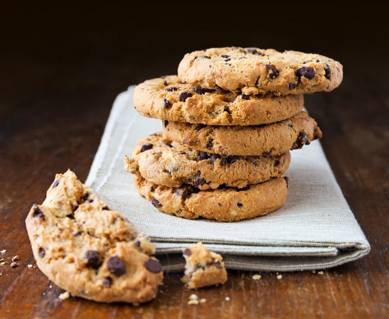 Chocolate chip cookies on wooden table stock image
