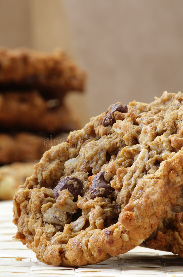 Chocolate chip macadamia cookie stock photo