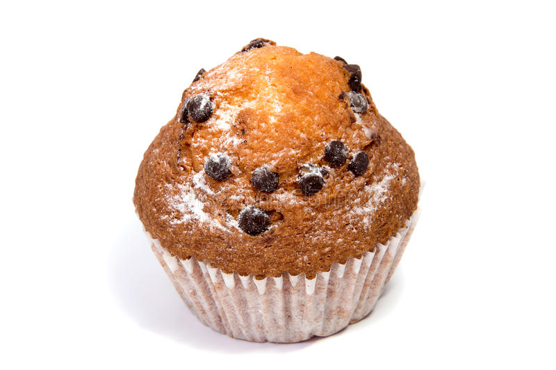 Chocolate chip muffin isolated on white. Background stock image