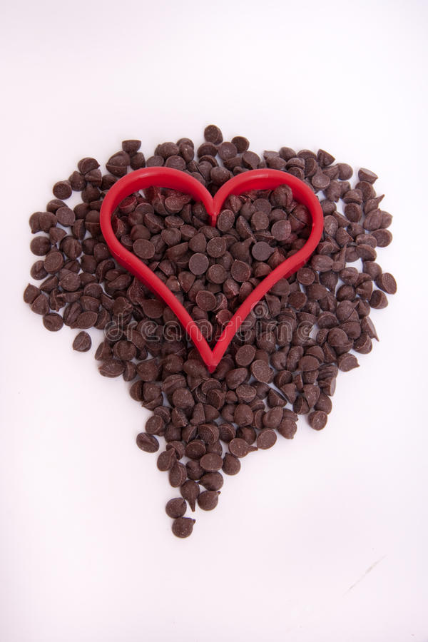 Download Chocolate Chip With Red Heart Stock Photo - Image: 19592462