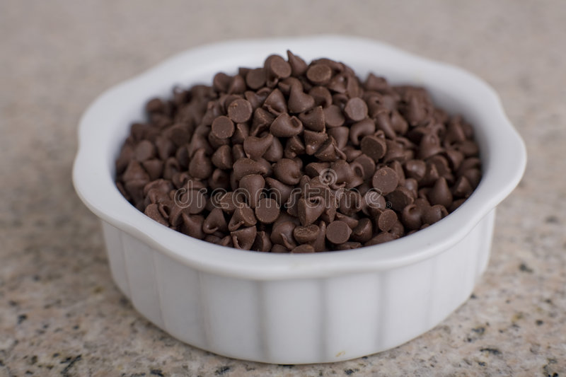 Chocolate Chips in Bowl 1 royalty free stock photo