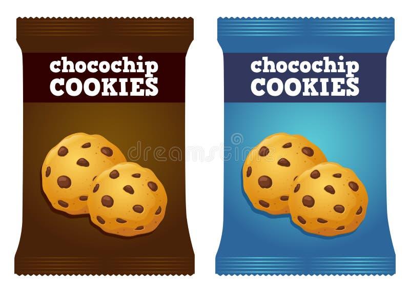 Chocolate Chips Cookie Snack Packaging Vetora ilustração do vetor