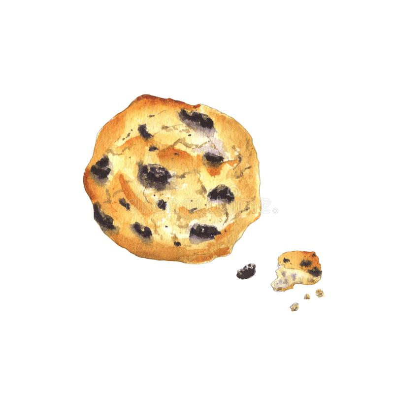 Chocolate chips cookie. Watercolor painting of a cookie with chocolate drops. Chocolate chips cookie and crumbles. Isolated on white background - Illustration royalty free illustration