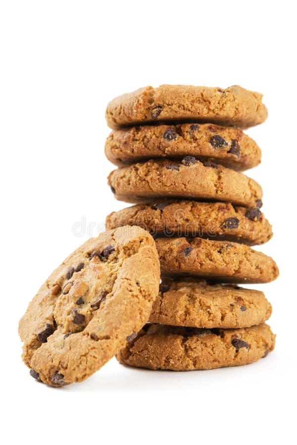 Chocolate chips cookies. On white background royalty free stock photo