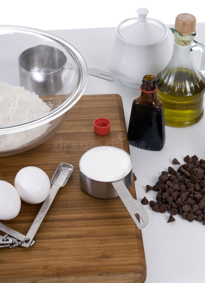 Chocolate chips in the making stock photo