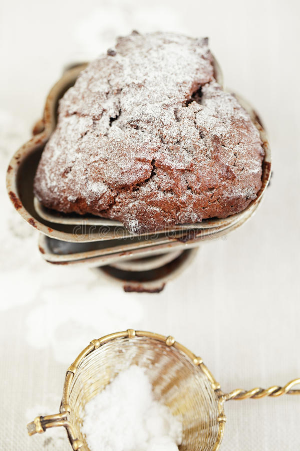 Chocolate Chrismas Muffin Dusted Sugar Stock Image