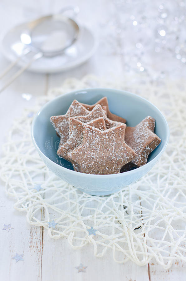 Chocolate Christmas cookies stock images