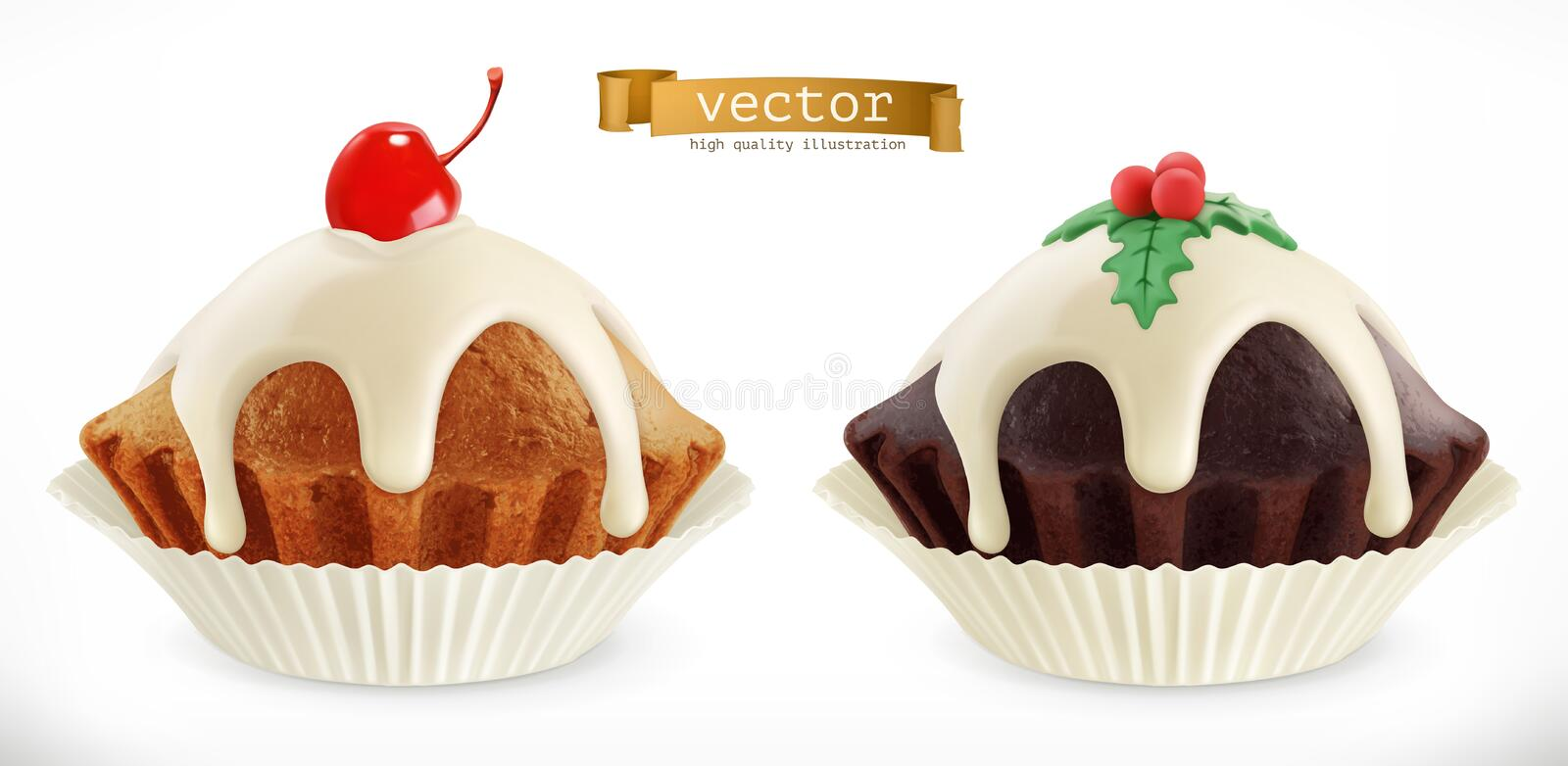 Chocolate christmas cupcake, fairy cake with cherry. 3d vector icon stock illustration