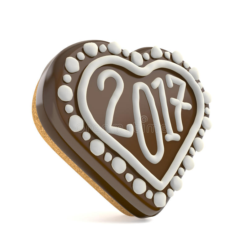 Chocolate Christmas gingerbread heart shape decorated with 2017. 3D royalty free illustration
