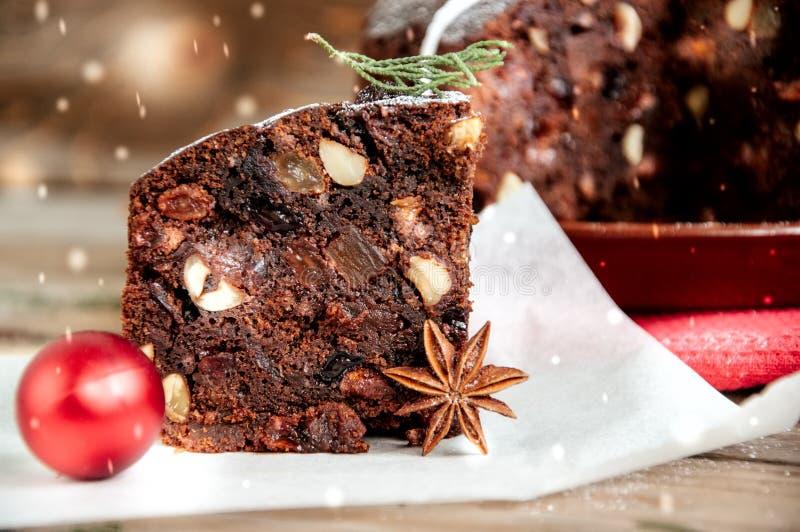 Chocolate Christmas Pudding royalty free stock photos