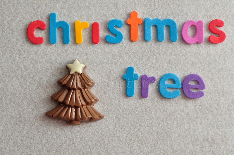 A chocolate christmas tree with the words christmas tree. Isolated on a white background royalty free stock photos