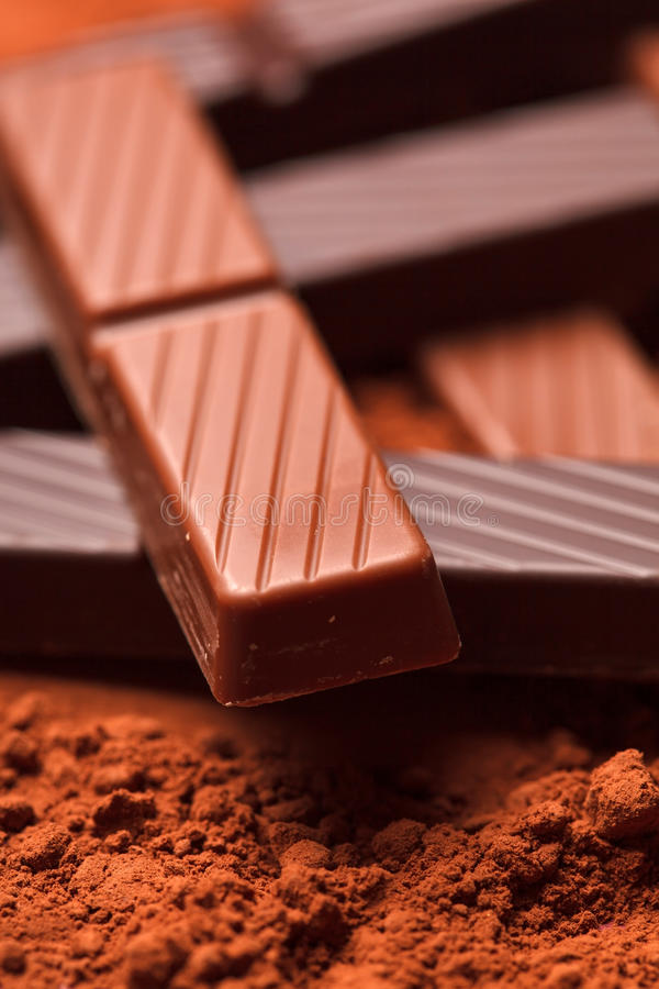 Download Chocolate with cocoa beans stock photo. Image of heap - 26873858