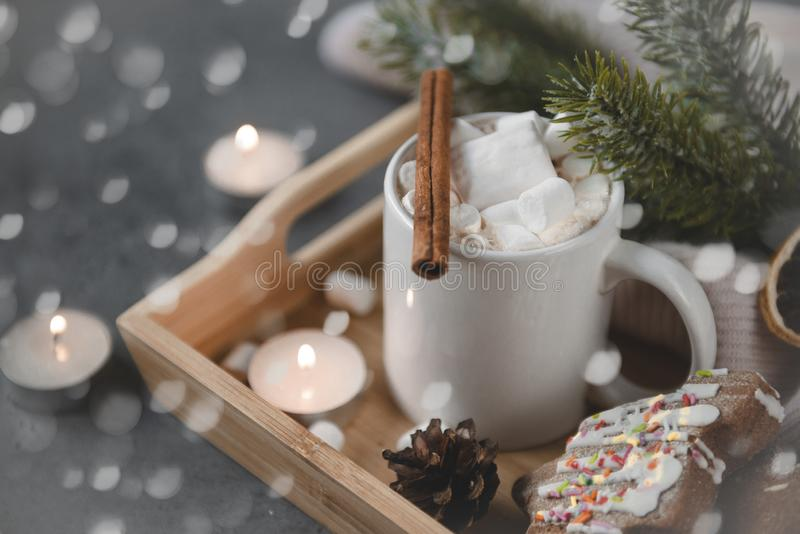 Chocolate cocoa with marshmallows, cinnamon, spruce branch, cookies, candles on a dark background, bokeh, lights royalty free stock photos