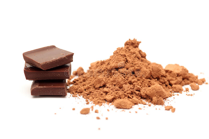 Chocolate and cocoa powder stock image