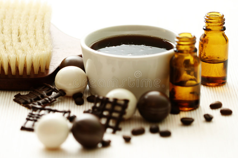 Chocolate and coffee bath stock images