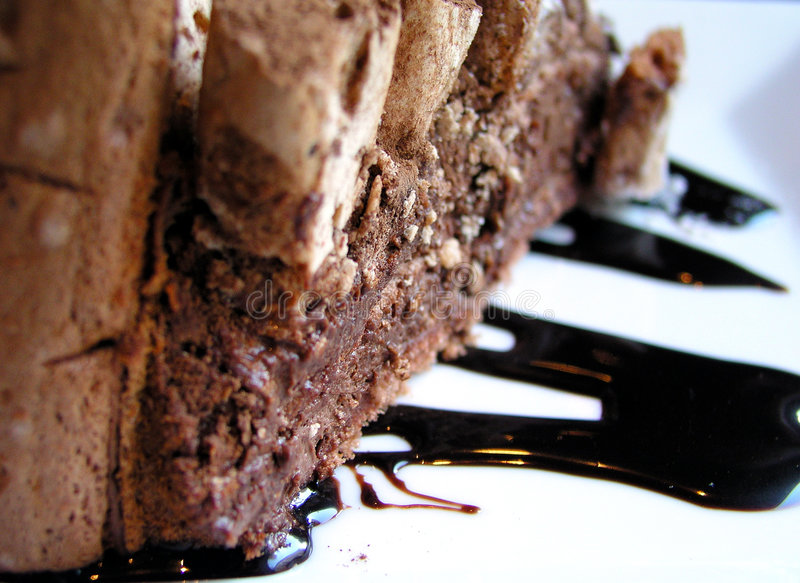 Chocolate coffee cake with nuts royalty free stock photography