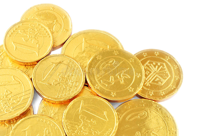 Chocolate coins royalty free stock image