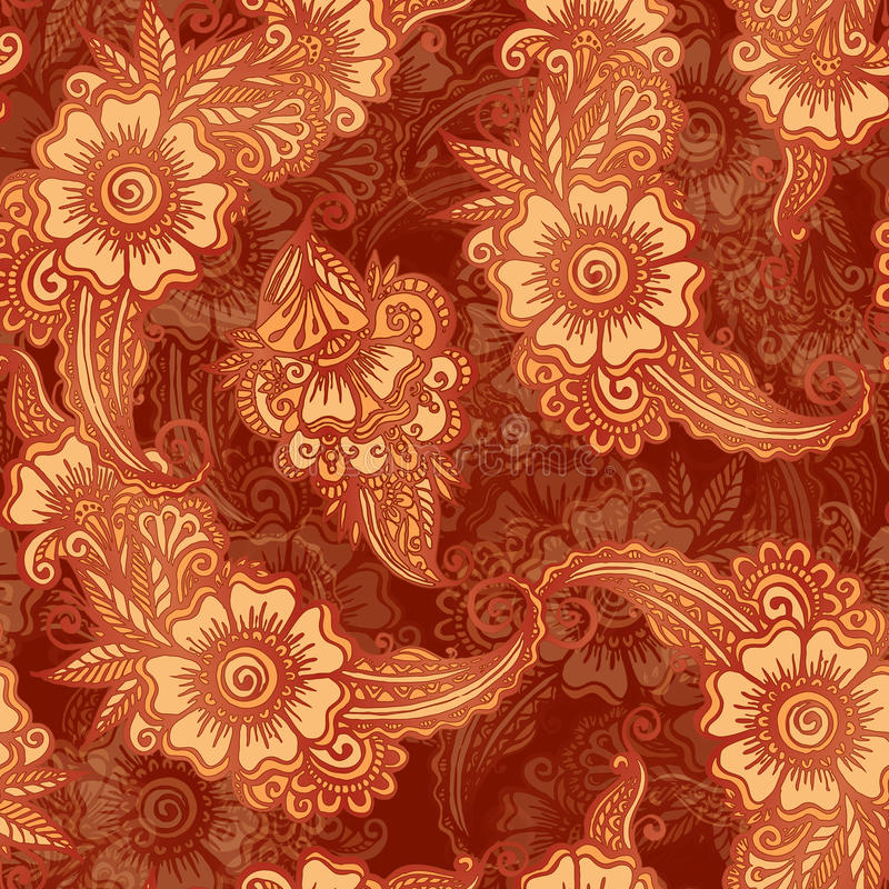 Chocolate colors floral seamless pattern in Indian vector illustration