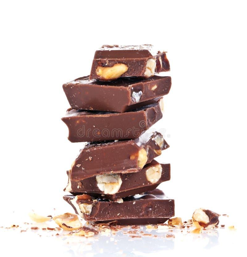 Chocolate con las tuercas foto de archivo libre de regalías