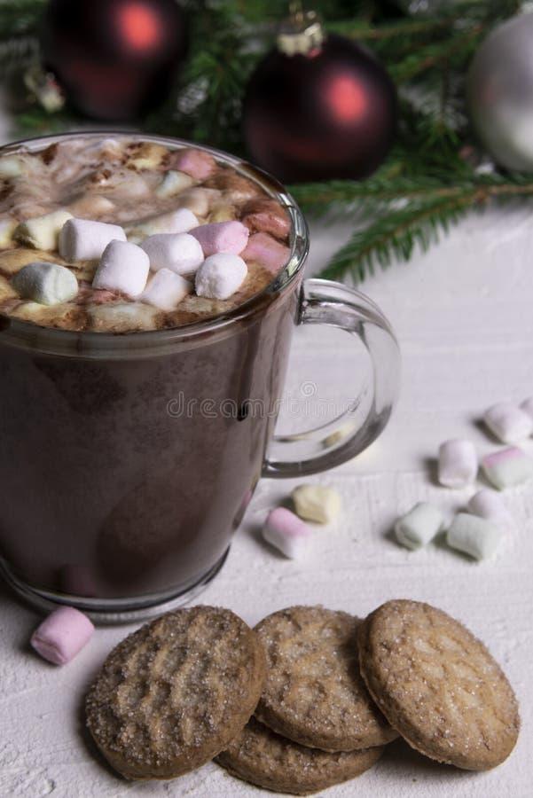 Chocolate con leche sabroso con la melcocha y las galletas foto de archivo