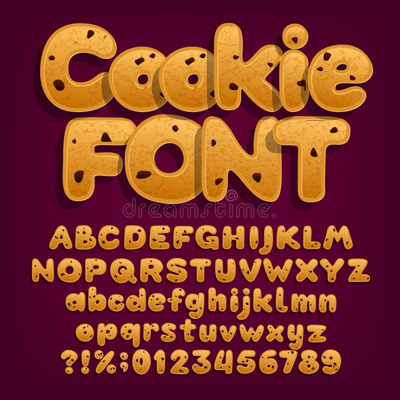 Chocolate cookie alphabet font. Uppercase and lowercase dessert letters. vector illustration