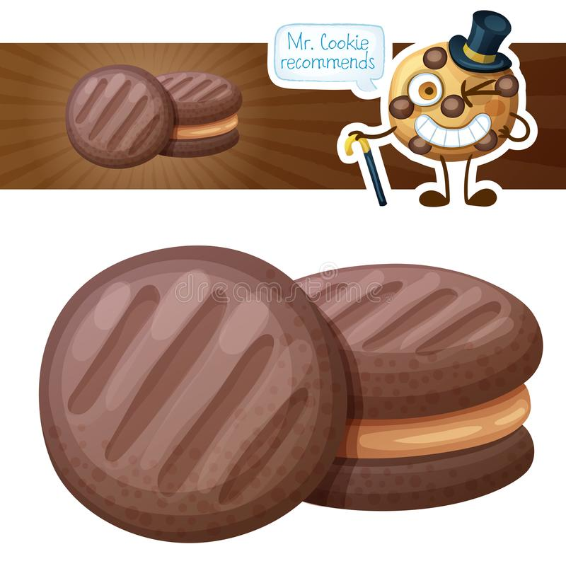 Chocolate cookie with peanut butter filling illustration. Cartoon vector icon on white background vector illustration