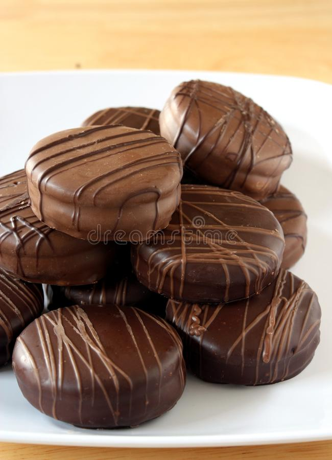 Chocolate Cookies. A variety of milk and dark chocolate covered sandwich cookies stock photography