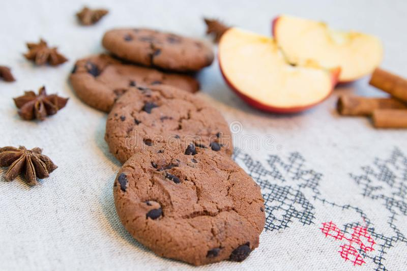 Chocolate cookies on burlap royalty free stock images