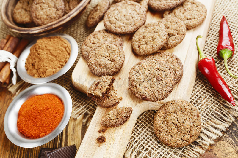 Chocolate cookies with chili pepper royalty free stock photos