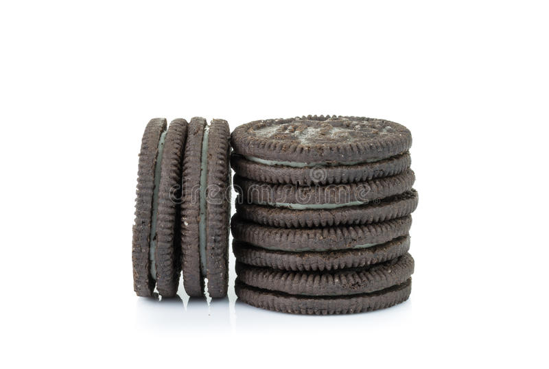 Chocolate cookies with cream isolated on white background royalty free stock photography