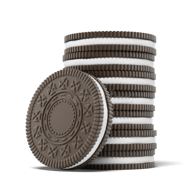 Chocolate cookies with creme. Isolated on a white background royalty free illustration
