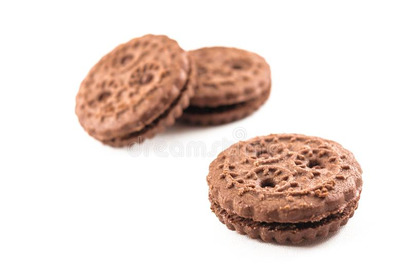 chocolate cookies isolated white background. sugary and sweet snack, food industry stock photos
